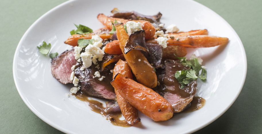 Spiced Lamb Shortloins with Roasted Carrots and Feta